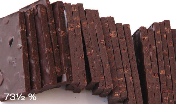 Chocolate 73½ % with pieces of cacao beans - 160g