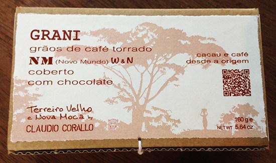 Arabica coffee beans, variety Caturra (CAT), W & N roasted and covered with 55% chocolate